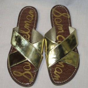 Sam Edelman Kora Gold Slip On Sandals Flip Flops